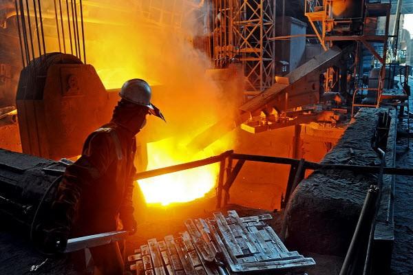 رشد تولید ماهانه فولاد خام در آلمان